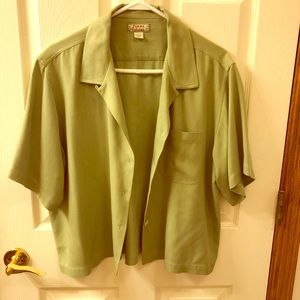 Tommy Bahama green silk blouse.